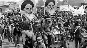 Army Demonstration...The Iranian Islamic Republic Army demonstrates in solidarity with people in the street during the Iranian revolution. They are carrying posters of the Ayatollah Khomeini, the Iranian religious and political leader. (Photo by Keystone/Getty Images)
